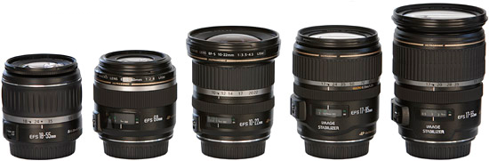 Объективы Canon EF-S 18-55mm f/3.5-5.6, Canon EF-S 60mm f/2.8 USM, Canon EF-S 10-22mm f/3.5-4.5 USM, Canon EF-S 17-85mm f/4-5.6 IS USM и Canon EF-S 17-55mm f/2.8 IS USM